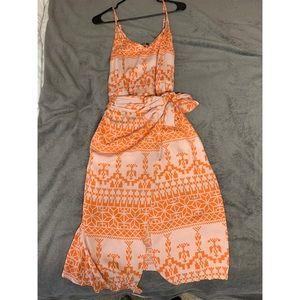 Geo Print Wrap Knotted Cami Dress